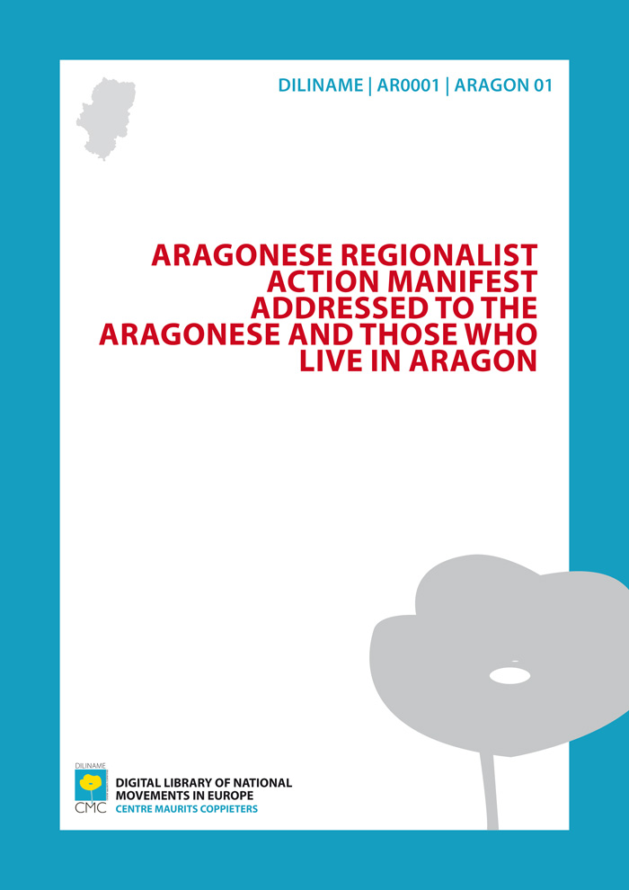 Aragonese Regionalist Action Manifest addressed to the Aragonese and those who live in Aragon (1918)